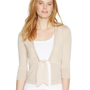 WHBM 3/4 Sleeve Woven Tie-Front Cardigan